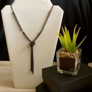 Jewelry - New Long Titanium Colored and CZ Necklace